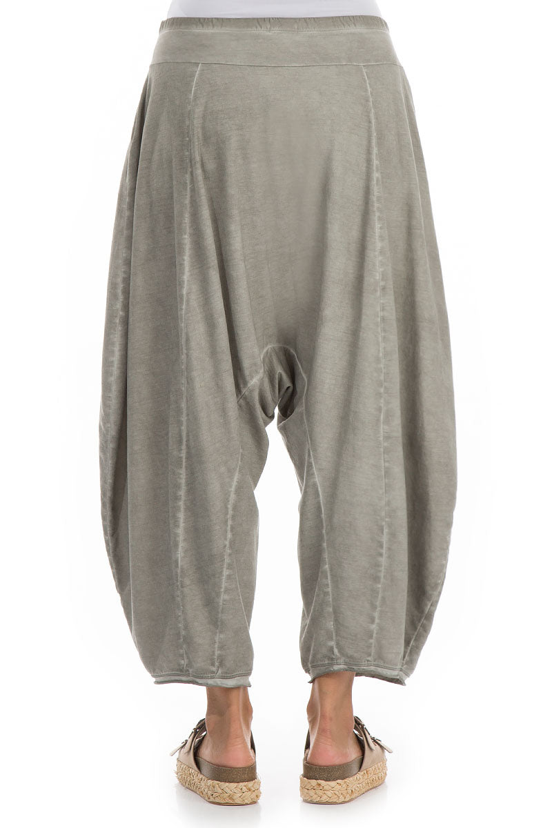 Wide Baggy Washed Out Taupe Cotton Trousers