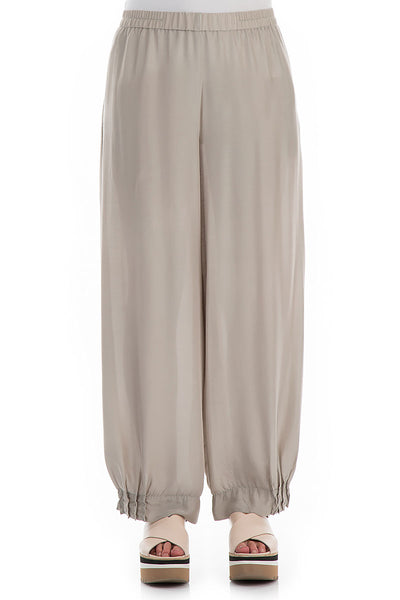 Wide Beige Silk Bamboo Trousers