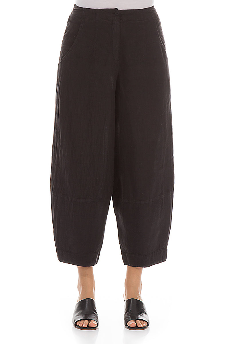 Wide Black Linen Trousers - GRIZAS | Natural Contemporary Womenswear