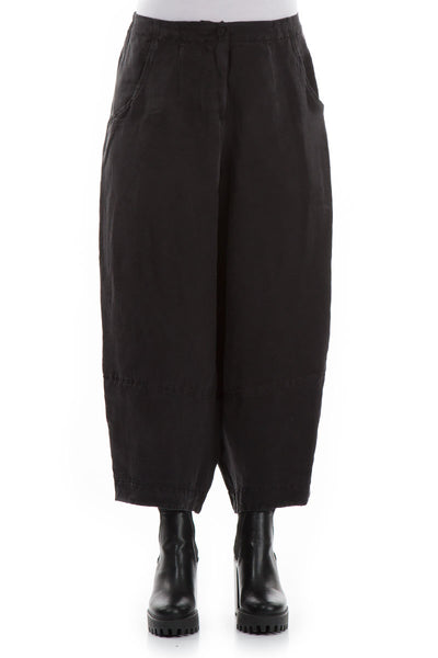 Wide Black Silk Linen Trousers