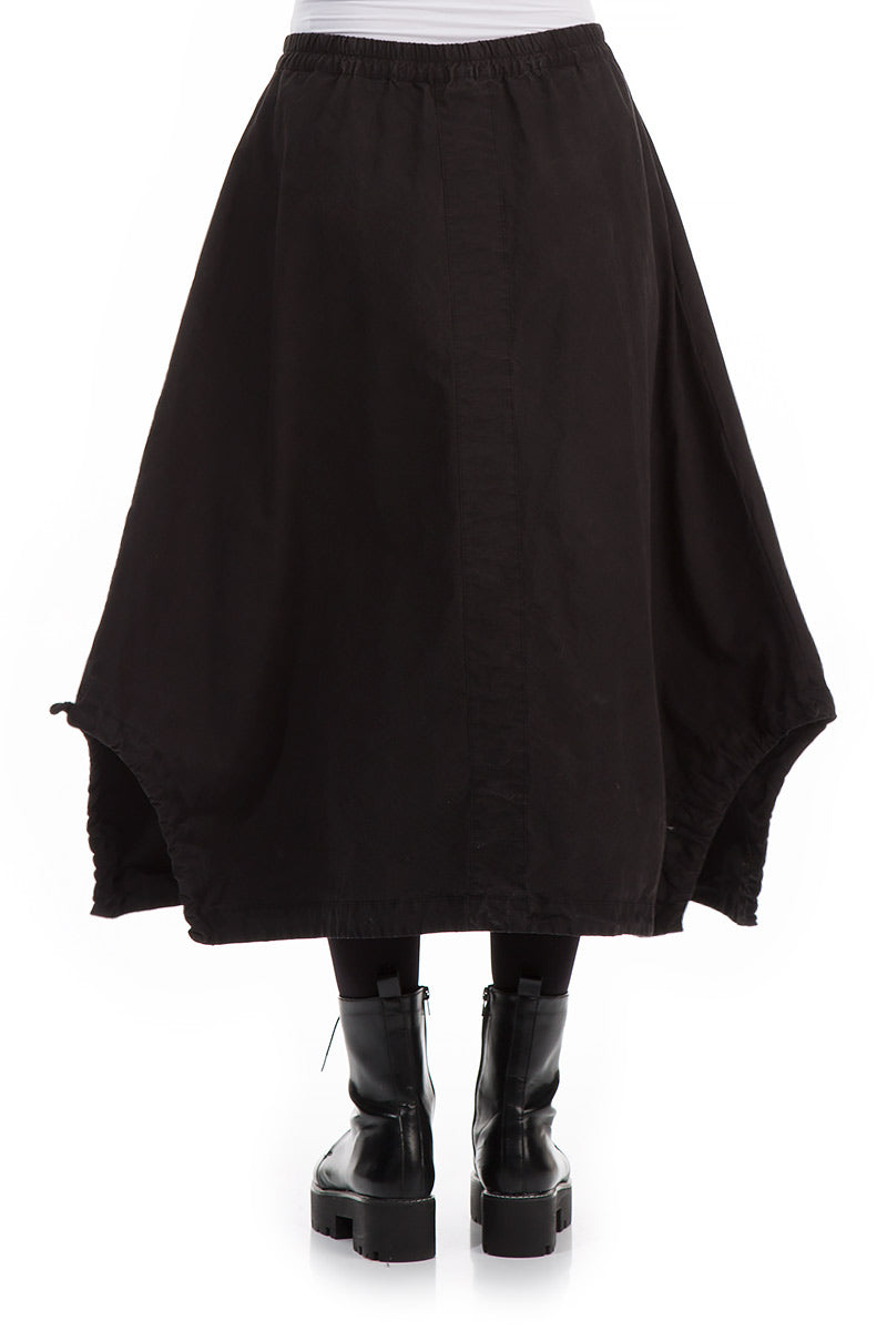 Wide Black Solid Cotton Skirt