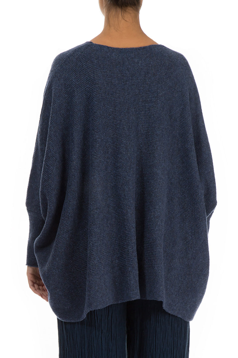 Wide Blue Wool Sweater