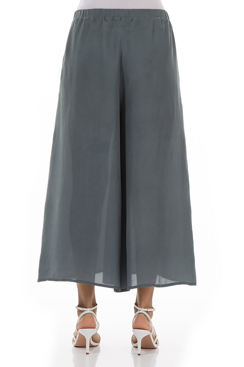 Wide Charcoal Pure Silk Culottes