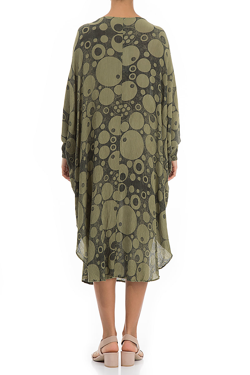 Wide Circles Print Khaki Dress - GRIZAS | Natural Contemporary Womenswear
