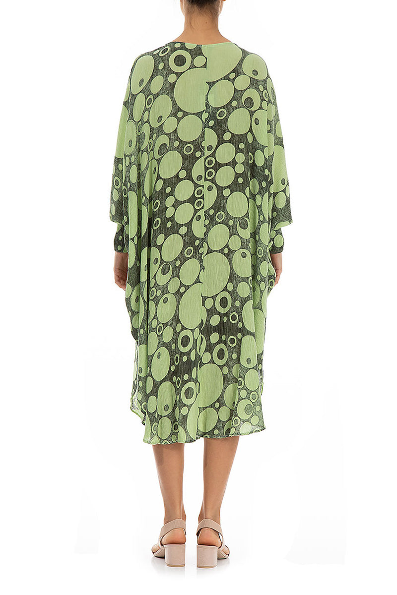 Wide Circles Print Lime Dress