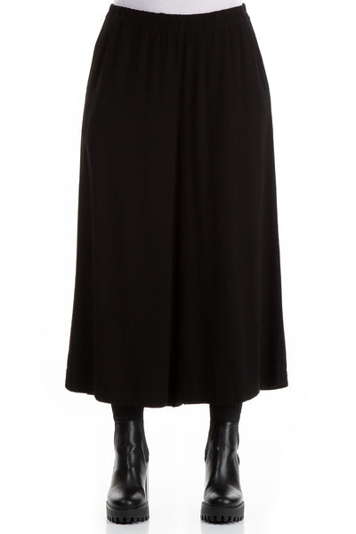 Wide Cropped Black Viscose Trousers