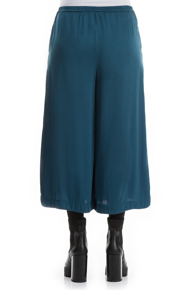 Wide Cropped Peacock Blue Silk Trousers