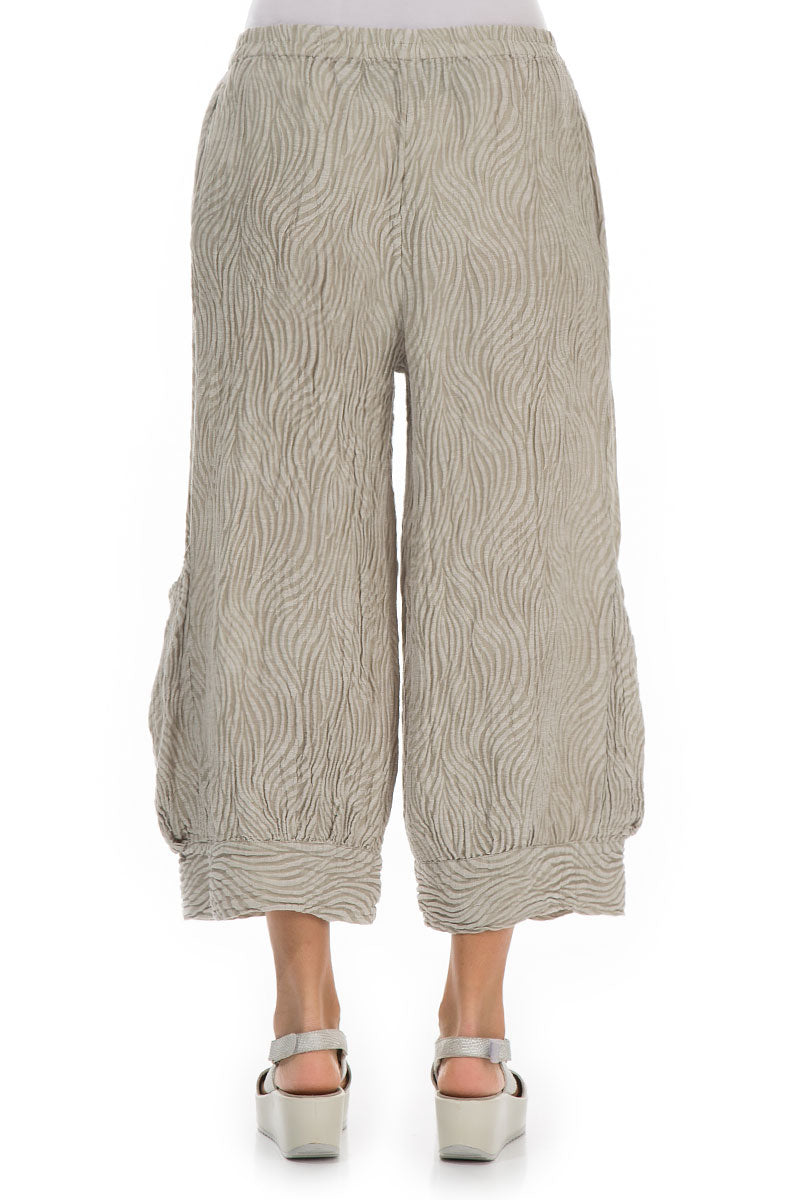 Wide Cropped Waves Pearl Trousers