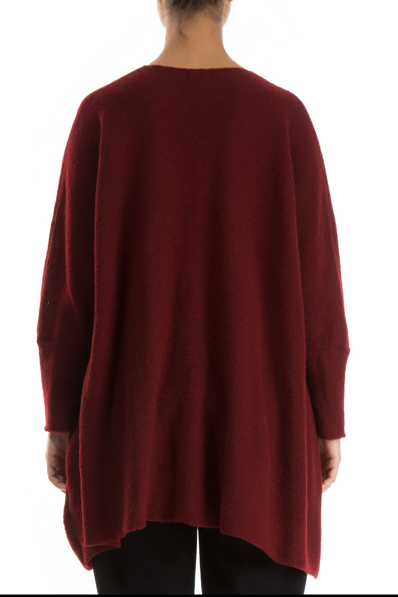 Wide Dark Red Wool Sweater