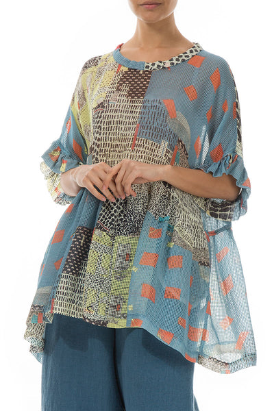 Wide Flared Vintage Print Silk Blouse