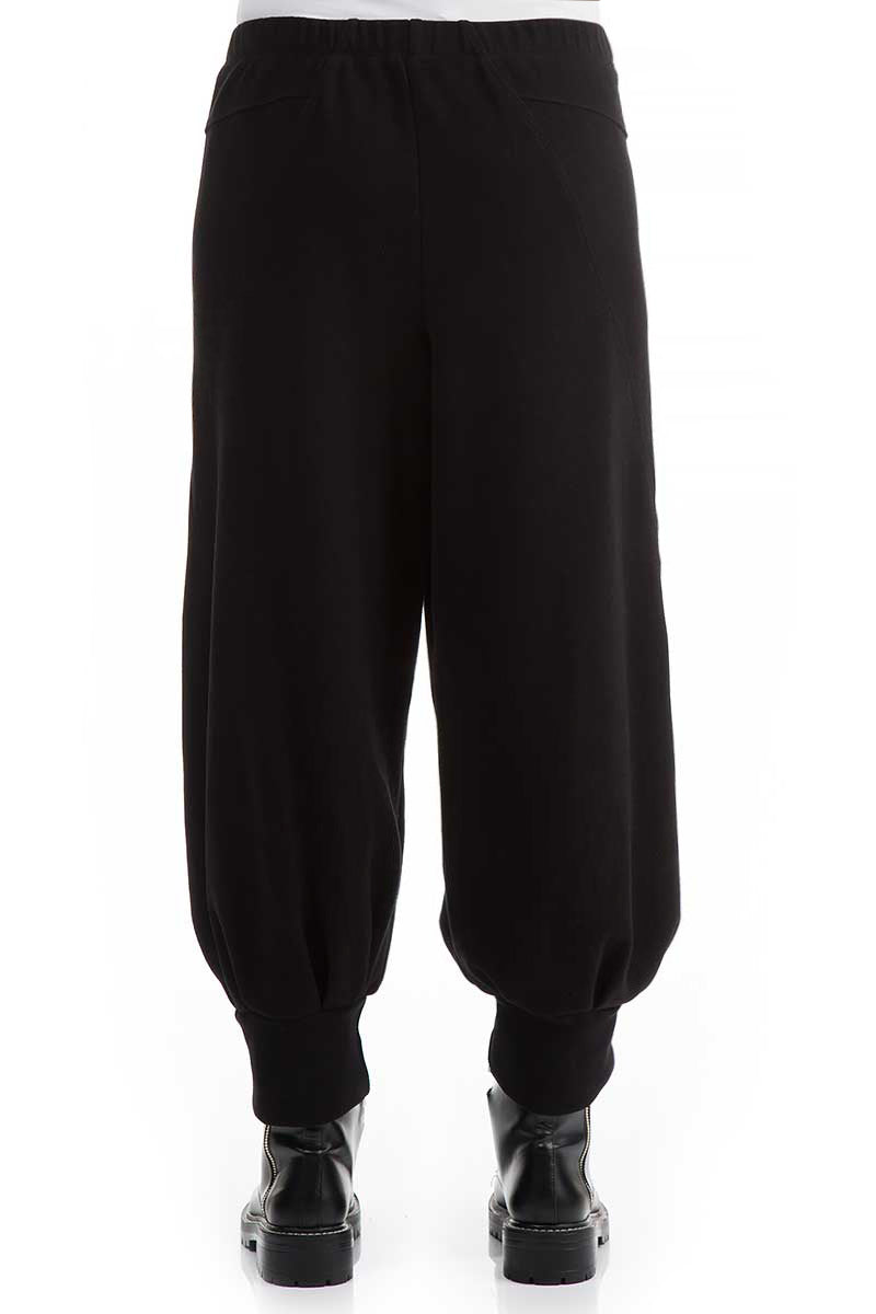 Wide Black Cotton Jersey Trousers