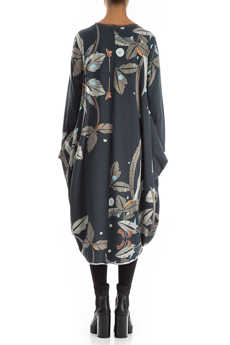 Wide Leaves Print Cotton Dress