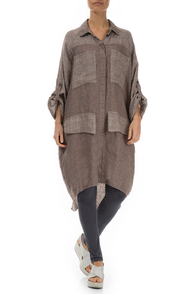 Wide Loose Brown Linen Shirt