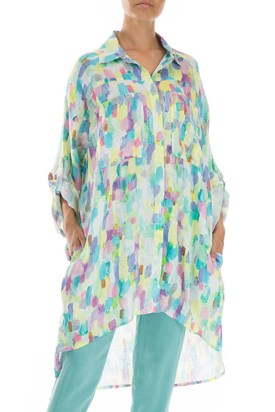 Wide Loose Confetti Linen Shirt