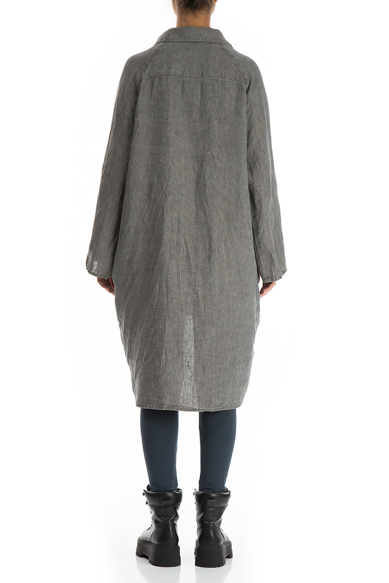 Wide Loose Grey Linen Shirt