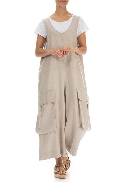 Wide Loose Natural Linen Jumpsuit