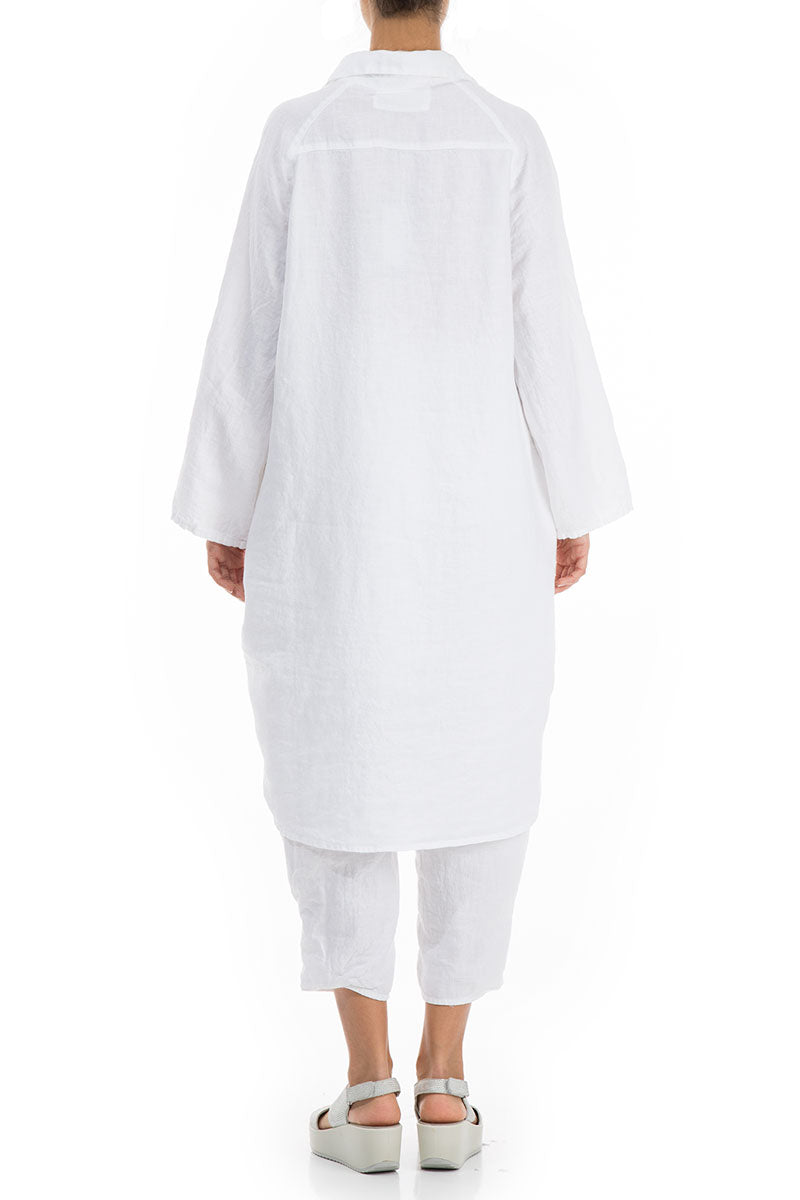 Wide Loose White Linen Shirt