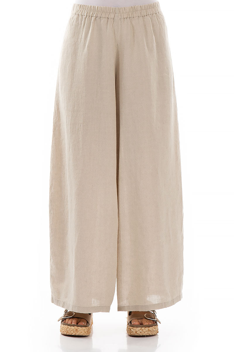 Wide Natural Linen Trousers