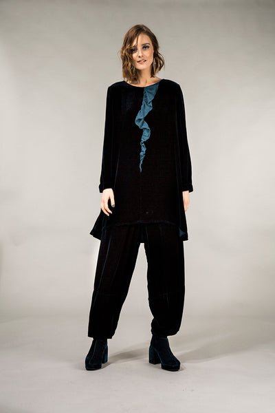 Loose Peacock Blue Silk Velvet Trousers