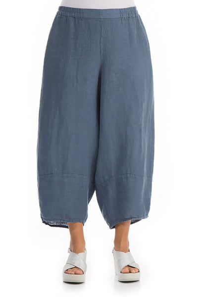 Wide Steel Blue Linen Trousers