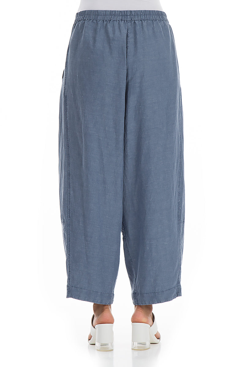 Wide Blue Iris Silk Linen Trousers