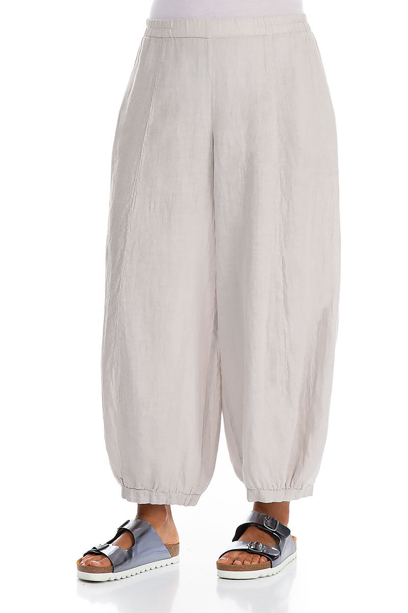 Wide Taper Taupe Linen Trousers