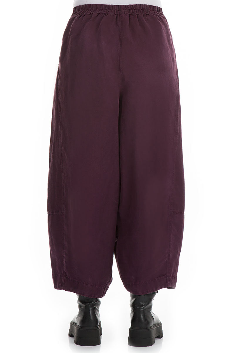 Wide Wine Silk Linen Trousers