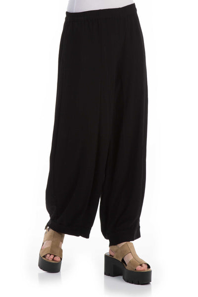 Wide Black Viscose Trousers - GRIZAS | Natural Contemporary Womenswear
