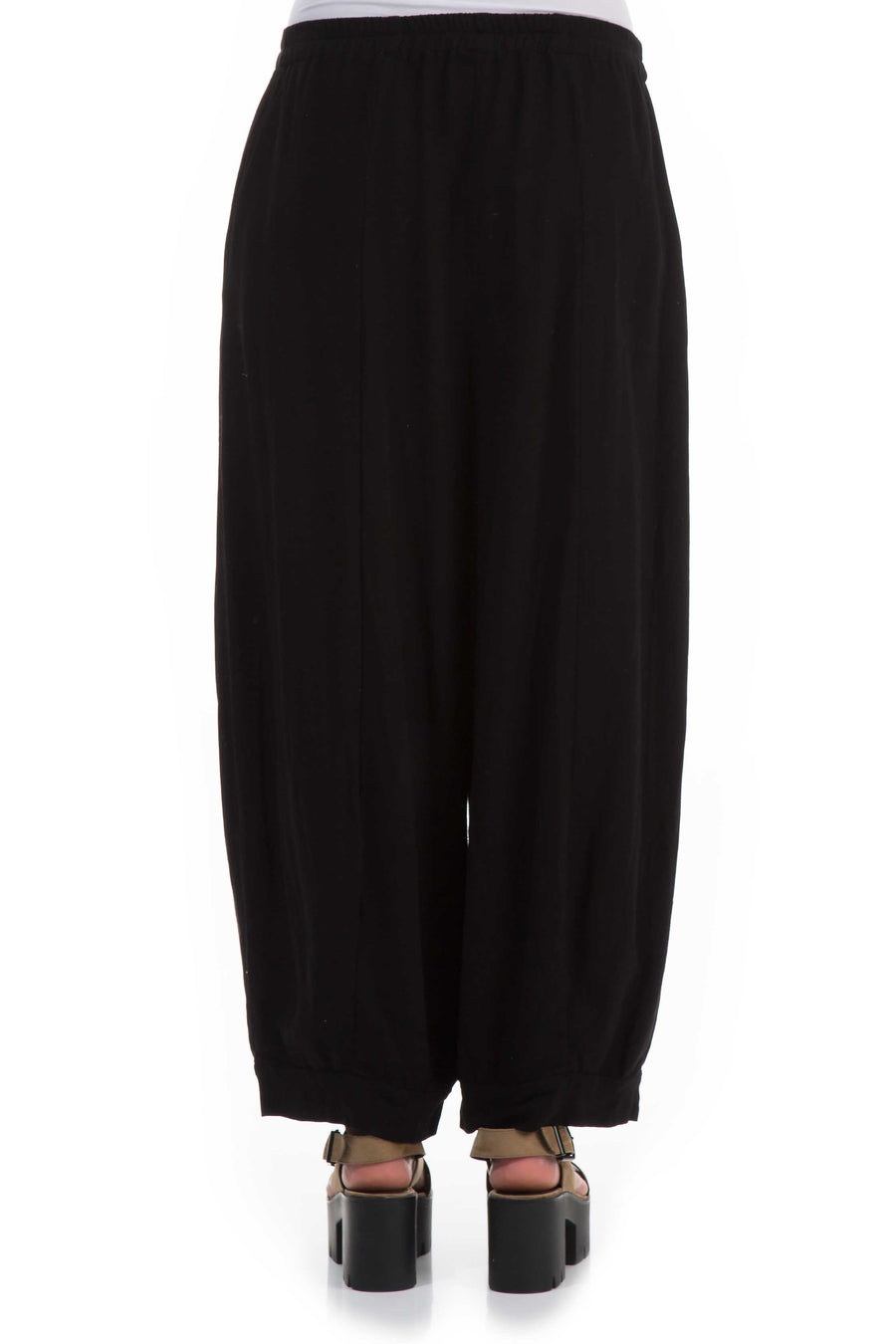 Wide Black Viscose Trousers