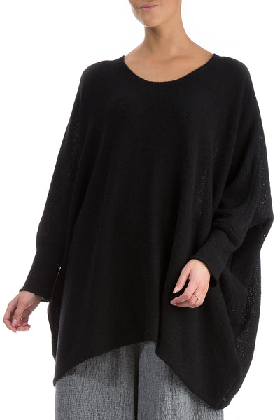 Wide Black Wool Sweater - GRIZAS | Natural Contemporary Womenswear