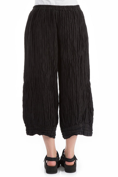 Wide Crinkled Black Trousers - GRIZAS | Natural Contemporary Womenswear