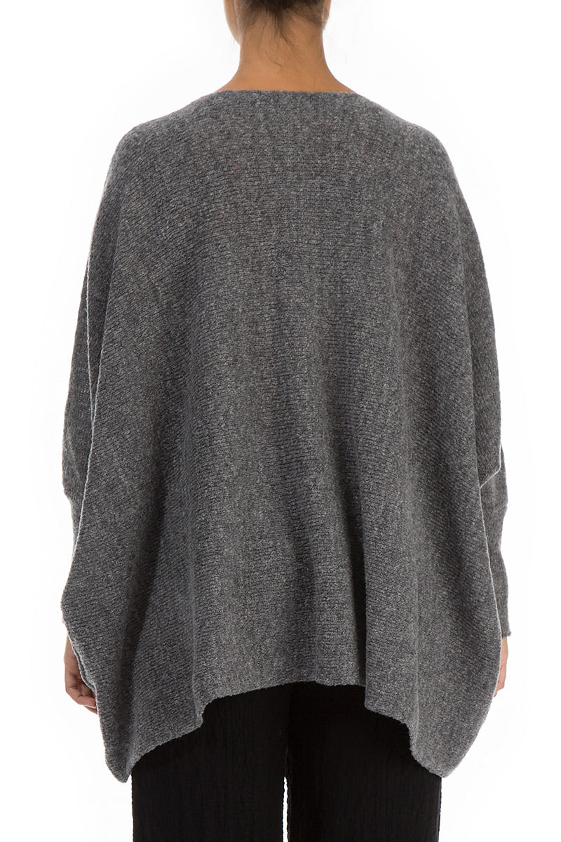 Wide Boxy Dark Grey Wool Sweater - GRIZAS | Natural Contemporary Womenswear