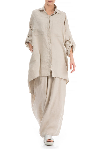 Wide Loose Natural Linen Shirt - GRIZAS | Natural Contemporary Womenswear