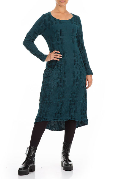 Textured Dark Teal Linen Cotton Dress