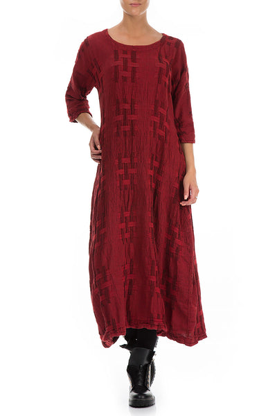 Woven Texture Red Linen Dress