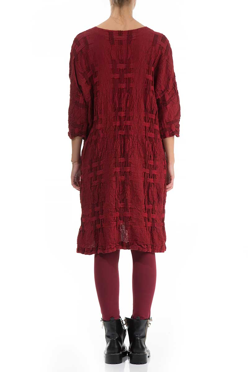 Woven Texture Red Linen Tunic