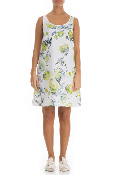 Yellow Roses Linen Night Dress