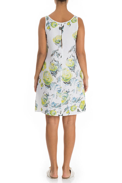 Lime Rose Print Linen Night Dress
