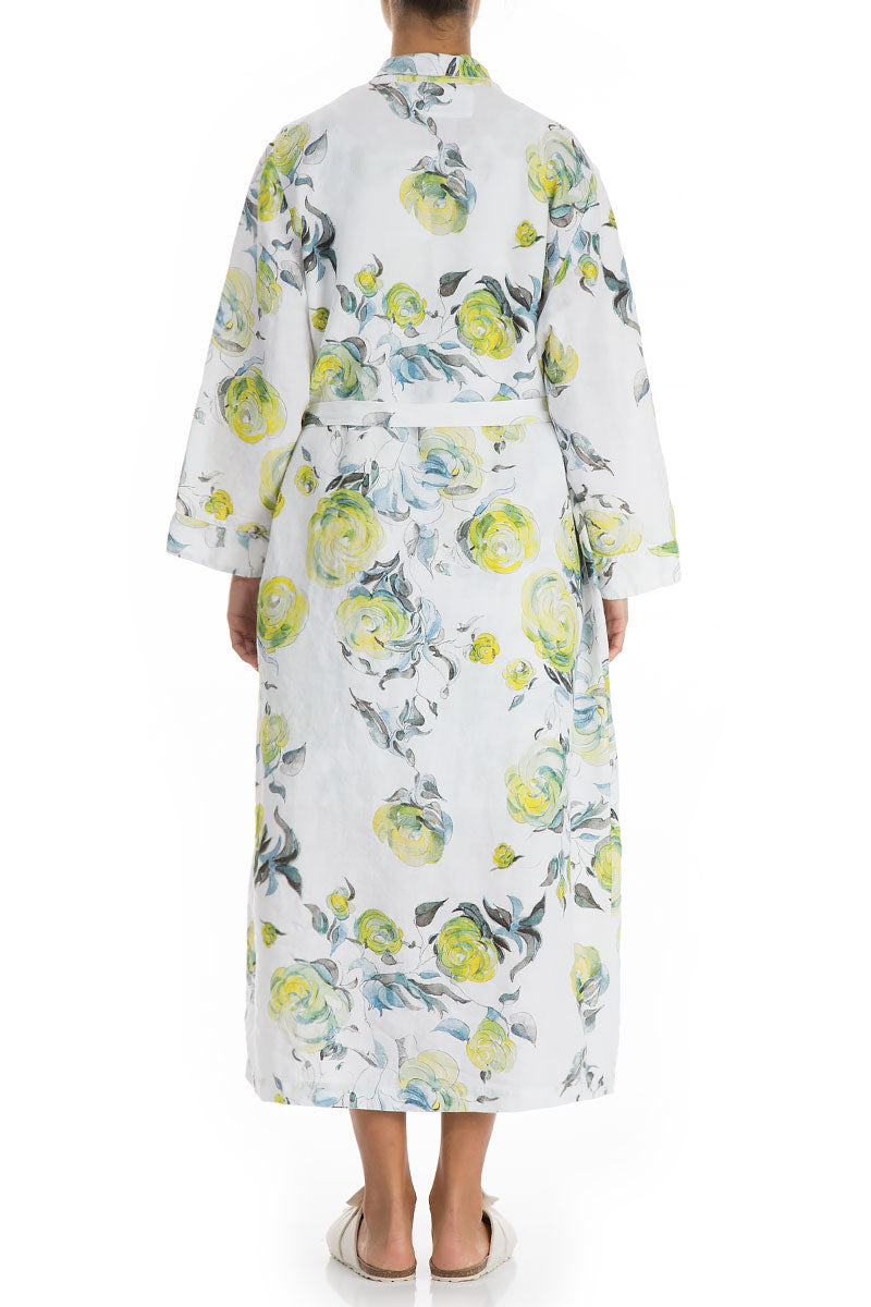 Lime Rose Print Linen Bathrobe
