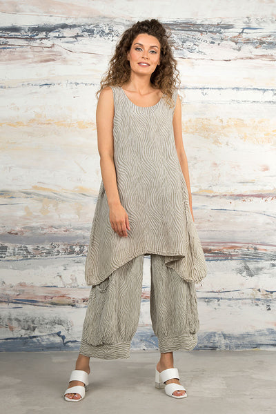 Sleeveless Waves Pearl Silk Linen Tunic