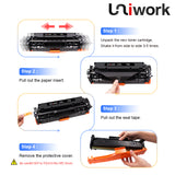 Uniwork Compatible Toner Cartridge Replacement for Canon 118 CRG-118 use for Imageclass MF8380Cdw MF8580Cdw MF726Cdw MF8350Cdn MF729Cdw LBP7660Cdn Printer (1 Black,1 Cyan,1 Magenta,1 Yellow, 4 Pack)