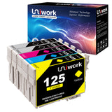 Uniwork Remanufactured Ink Cartridge Replacement for Epson 125 T125 use for NX125 NX127 NX130 NX230 NX420 NX530 NX625 Workforce 320 323 325 520 Printer (2 Black, 1 Cyan, 1 Magenta, 1 Yellow)