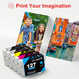 Uniwork Remanufactured Ink Cartridge Replacement for Epson 127 T127 use for Workforce 545 845 645 WF-3540 WF-3520 WF-7010 WF-7510 WF-7520 NX530 NX625 Printer (2 Black 1 Cyan 1 Magenta 1 Yellow)