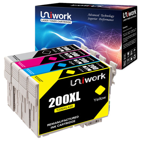 Uniwork Remanufactured Ink Cartridge Replacement for Epson 200 XL 200XL T200XL use for WF-2540 WF-2530 WF-2520 Expression Home XP-410 XP-400 XP-200 Printer (1 Black 1 Cyan 1 Magenta 1 Yellow) 4 Pack