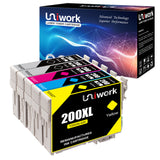 Uniwork Remanufactured Ink Cartridge Replacement for Epson 200 T200XL use for WF-2540 WF-2530 WF-2520 Expression Home XP-410 XP-400 XP-200 Printer (2Black 1Cyan 1 Magenta 1Yellow) 5 Pack