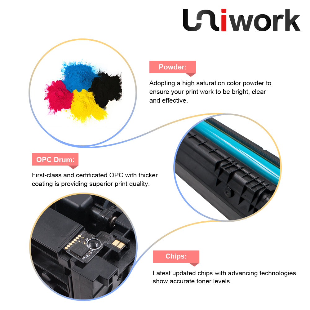 Uniwork 201X Compatible Toner Cartridge Replacement for HP 201X CF400X 201A  CF400A M277dw for HP Color LaserJet Pro MFP M277dw M252dw M277c6 M277n