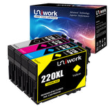 Uniwork Remanufactured Ink Cartridge Replacement for Epson 220 XL 220XL T220XL use for WorkForce WF-2750 WF-2760 WF-2630 WF-2650 WF-2660 XP-320 XP-420 Printer (1 Black 1 Cyan 1 Magenta 1 Yellow)