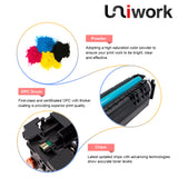 Uniwork 410A Compatible Toner Cartridge Replacement for HP 410A CF410A 410X use for HP Color Laserjet Pro M452dw M452dn M452nw, MFP M477fnw M477fdn M477fdw M377dw Printer (Black Cyan Magenta Yellow)
