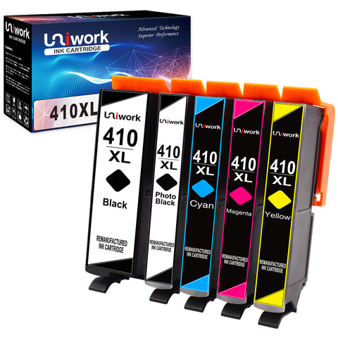 Uniwork Remanufactured Ink Cartridge Replacement for Epson 410XL 410 XL T410XL use for Expression XP-7100 XP-830 XP-640 XP-630 XP-530 XP-635 Printer (Black, Cyan, Magenta, Yellow, Photo Black) 5 Pack