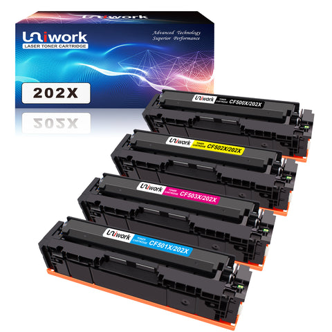 Uniwork Compatible Toner Cartridge Replacement for HP 202X 202A CF500X CF500A use with Laserjet Pro MFP M281fdw M254dw M281cdw M281 M281dw M280nw Toner Printer (Black, Cyan, Magenta, Yellow)